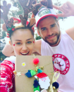 """<p>Miley Cyrus brings out Liam Hemsworth's silly — and crafty — side! """"Happy Hollydaze!"""" she captioned this snap of her and her beau on Christmas Day wearing antlers and posing with a present wrapped by Hemsworth. She proudly added the hashtag, #bestpresentwrappereva. (Photo: <a rel=""""nofollow noopener"""" href=""""https://www.instagram.com/p/BOc-VuyBuUJ/"""" target=""""_blank"""" data-ylk=""""slk:Instagram"""" class=""""link rapid-noclick-resp"""">Instagram</a>) </p>"""
