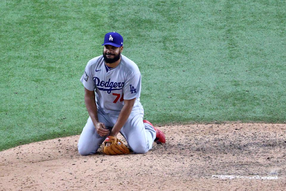 ARLINGTON, TEXAS - OCTOBER 24:  Kenley Jansen #74 of the Los Angeles Dodgers reacts after allowing the game-winning single to Brett Phillips (not pictured) of the Tampa Bay Rays during the ninth inning to give the Rays the 8-7 victory in Game Four of the 2020 MLB World Series at Globe Life Field on October 24, 2020 in Arlington, Texas. (Photo by Sean M. Haffey/Getty Images)