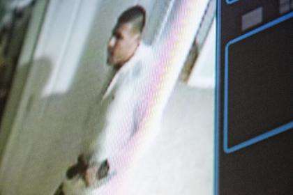 Aaron Hernandez is seen in footage from his home security system. (AP)
