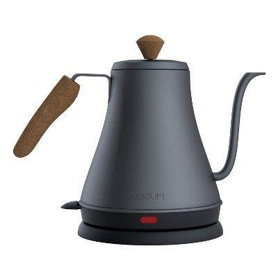 """<p><strong>Bodum</strong></p><p>target.com</p><p><strong>$34.99</strong></p><p><a href=""""https://www.target.com/p/bodum-goose-neck-electric-water-kettle-black/-/A-53664318"""" rel=""""nofollow noopener"""" target=""""_blank"""" data-ylk=""""slk:Shop Now"""" class=""""link rapid-noclick-resp"""">Shop Now</a></p><p>Best if you're trying to make pour-over coffee, this goose neck kettle has an attractive look that's actually ergonomically designed to be comfortable in your hand. Most goose neck kettles can get pricey, but this one's a total bargain considering the fact that it's made with sustainably-sourced cork, too. </p><p>Pair with the <a href=""""https://www.target.com/p/bodum-8-cup-34oz-pour-over-coffee-maker/-/A-53664362"""" rel=""""nofollow noopener"""" target=""""_blank"""" data-ylk=""""slk:matching pour-over coffee maker"""" class=""""link rapid-noclick-resp"""">matching pour-over coffee maker</a> for a full set. </p>"""