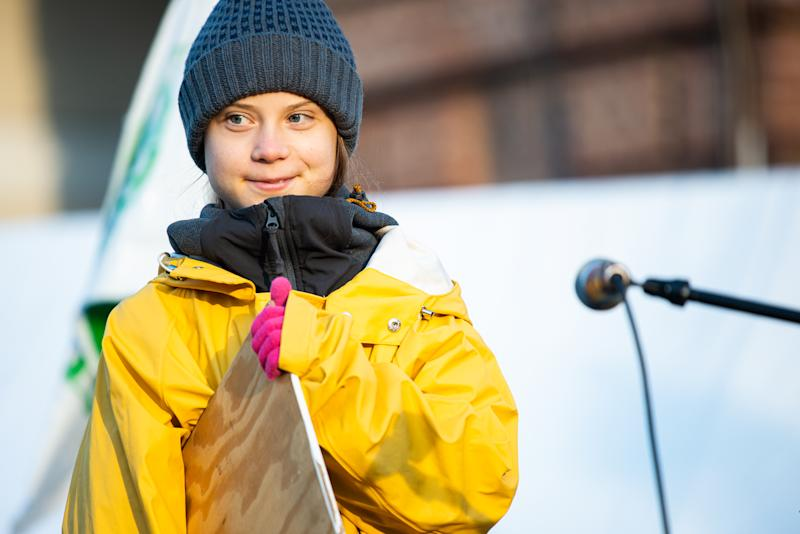 TURIN, PIEDMONT/TURIN, ITALY - 2019/12/13: The Swedish activist Greta Thunberg speaks in Piazza Castello during the Friday for future in Turin, Italy. (Photo by Alberto Gandolfo/Pacific Press/LightRocket via Getty Images)
