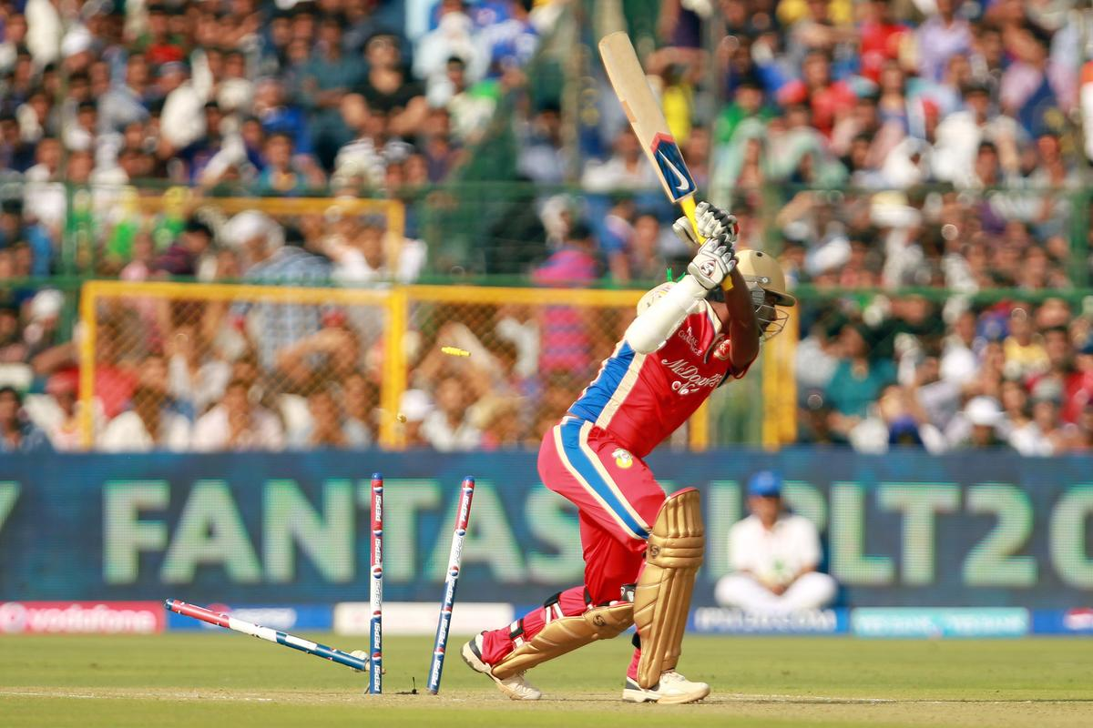 Abhinav Mukund is bowled by Siddarth Trivedi during match 40 of the Pepsi Indian Premier League ( IPL) 2013  between The Rajasthan Royals and the Royal Challengers Bangalore held at the Sawai Mansingh Stadium in Jaipur on the 29th April 2013.  (BCCI)