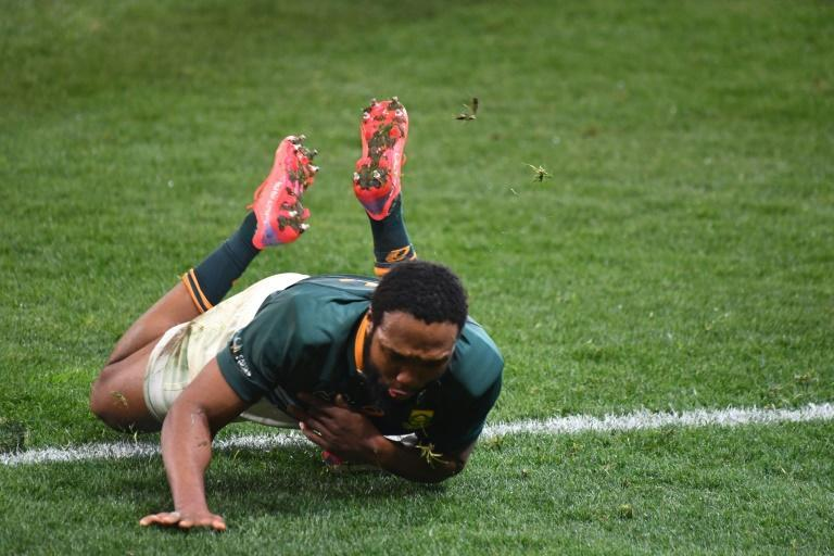 South Africa centre Lukhanyo Am scores a try in the second Test against the British and Irish Lions in Cape Town on Saturday