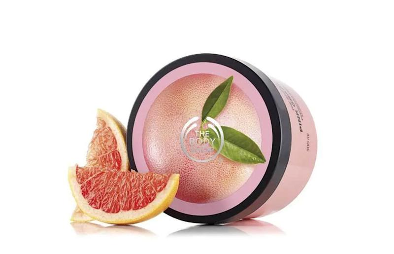 "Let's get comfy. Get it <a href=""https://www.thebodyshop.com/en-ca/body/body-moisturizers/pink-grapefruit-body-butter/p/p000017"" target=""_blank"" rel=""noopener noreferrer"">at The Body Shop</a> for $27.20."