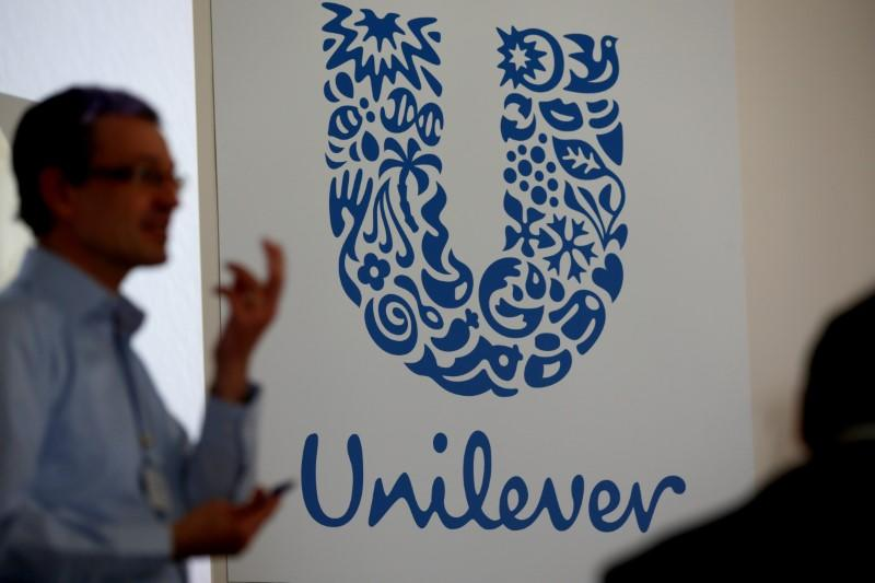 The logo of the Unilever group is seen at the Miko factory in Saint-Dizier