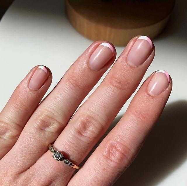 """<p>Pink nails not your thing? Go the classic French manicure route (they're having a moment!) and paint either the whole tip or just half with pink instead of white.</p><p><a href=""""https://www.instagram.com/p/B4NfZC-nF0y/"""" rel=""""nofollow noopener"""" target=""""_blank"""" data-ylk=""""slk:See the original post on Instagram"""" class=""""link rapid-noclick-resp"""">See the original post on Instagram</a></p>"""