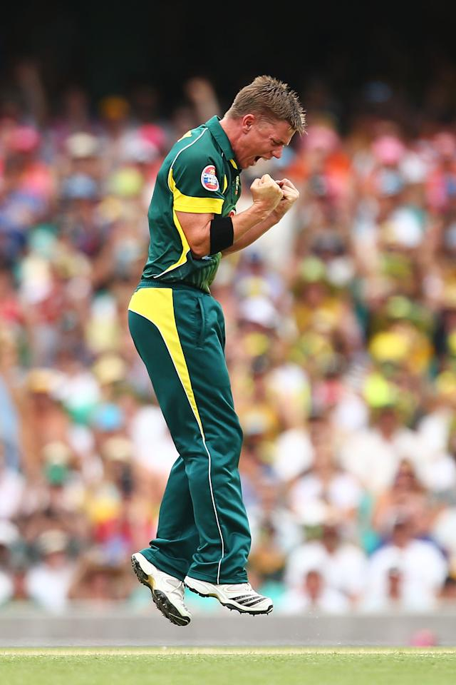 SYDNEY, AUSTRALIA - JANUARY 19:  Xavier Doherty of Australia celebrates the wicket of Alastair Cook of England only to have it turned down on appeal during game three of the One Day International Series between Australia and England at Sydney Cricket Ground on January 19, 2014 in Sydney, Australia.  (Photo by Mark Nolan/Getty Images)