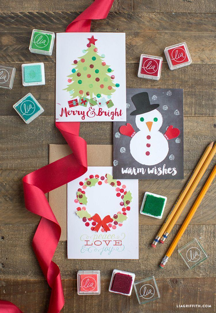 """<p>If you're looking for a fun Christmas craft to make with your children, look no further than these cute cards.</p><p><strong>Get the tutorial at <a href=""""https://liagriffith.com/eraser-stamp-holiday-card-for-kids/"""" rel=""""nofollow noopener"""" target=""""_blank"""" data-ylk=""""slk:Lia Griffith"""" class=""""link rapid-noclick-resp"""">Lia Griffith</a>.</strong></p><p><a class=""""link rapid-noclick-resp"""" href=""""https://www.amazon.com/Lsushine-Craft-Stamps-Partner-Fabric/dp/B01CKXUCNE/?tag=syn-yahoo-20&ascsubtag=%5Bartid%7C10050.g.3872%5Bsrc%7Cyahoo-us"""" rel=""""nofollow noopener"""" target=""""_blank"""" data-ylk=""""slk:SHOP STAMP PADS"""">SHOP STAMP PADS</a></p>"""