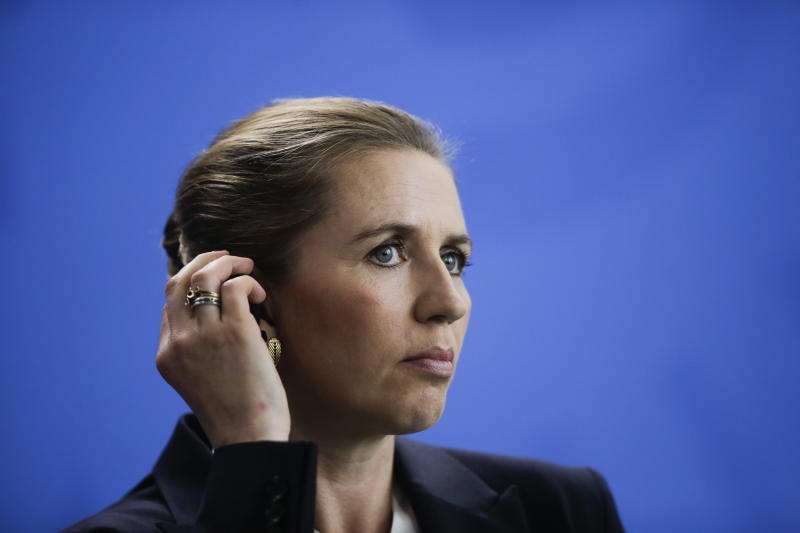 Danish Prime Minister Mette Frederiksen attends a news conference with German Chancellor Angela Merkel after a meeting at the chancellery in Berlin, Thursday, July 11, 2019. (AP Photo/Markus Schreiber)