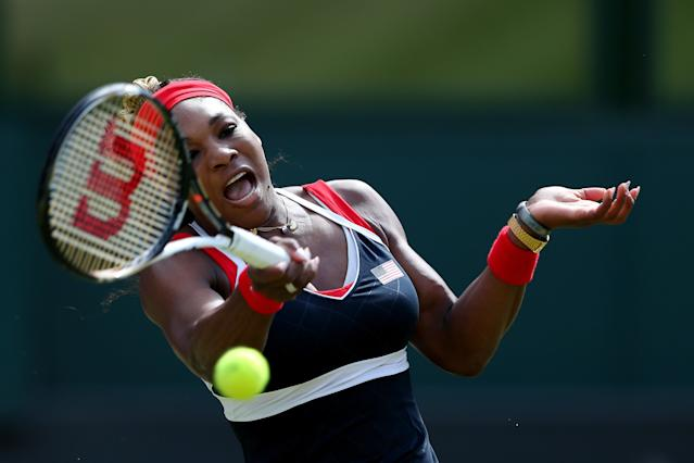 LONDON, ENGLAND - AUGUST 04: Serena Williams of the United States of America competes against Maria Sharapova of Russia during the gold medal match of the Women's Singles Tennis on Day 8 of the London 2012 Olympic Games at the All England Lawn Tennis and Croquet Club on August 4, 2012 in London, England. (Photo by Clive Brunskill/Getty Images)