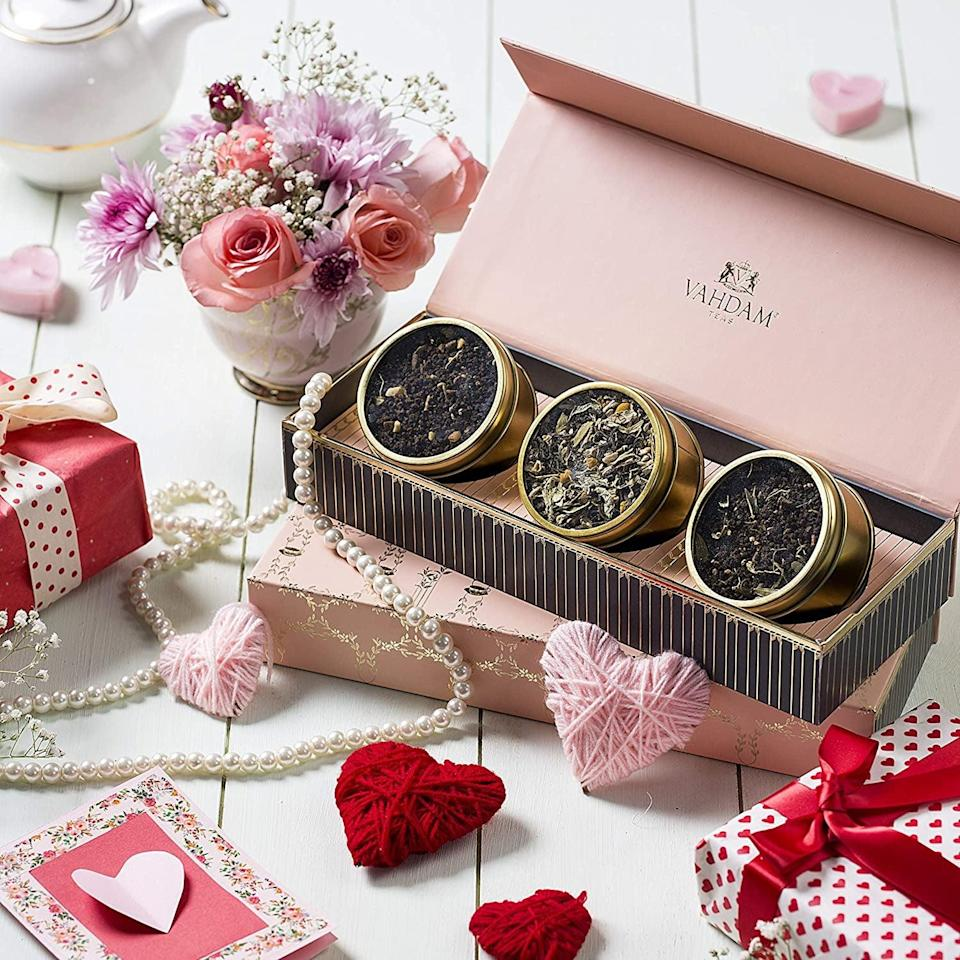 <p>If you're a tea lover, relax and enjoy a cup of <span>Vahdam Assorted Tea Gift Set for Valentine's Day - Blush</span> ($25).</p>
