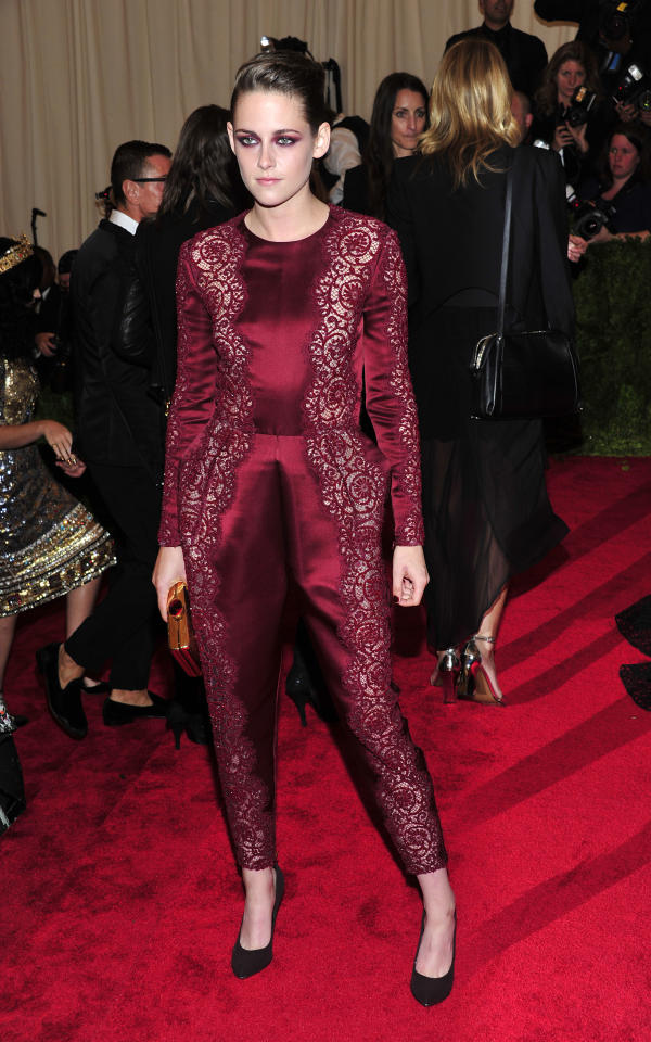 """Kristen Stewart attends The Metropolitan Museum of Art's Costume Institute benefit celebrating """"PUNK: Chaos to Couture"""" on Monday May 6, 2013 in New York. (Photo by Charles Sykes/Invision/AP)"""