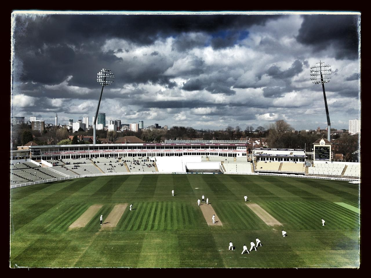 (EDITORS NOTE: This images was processed using digital filters.) General view of play during day two of the LV County Championship Division One game between Warwickshire and Durham at Edgbaston on April 18, 2013 in Birmingham, England. (Photo by Stu Forster/Getty Images)