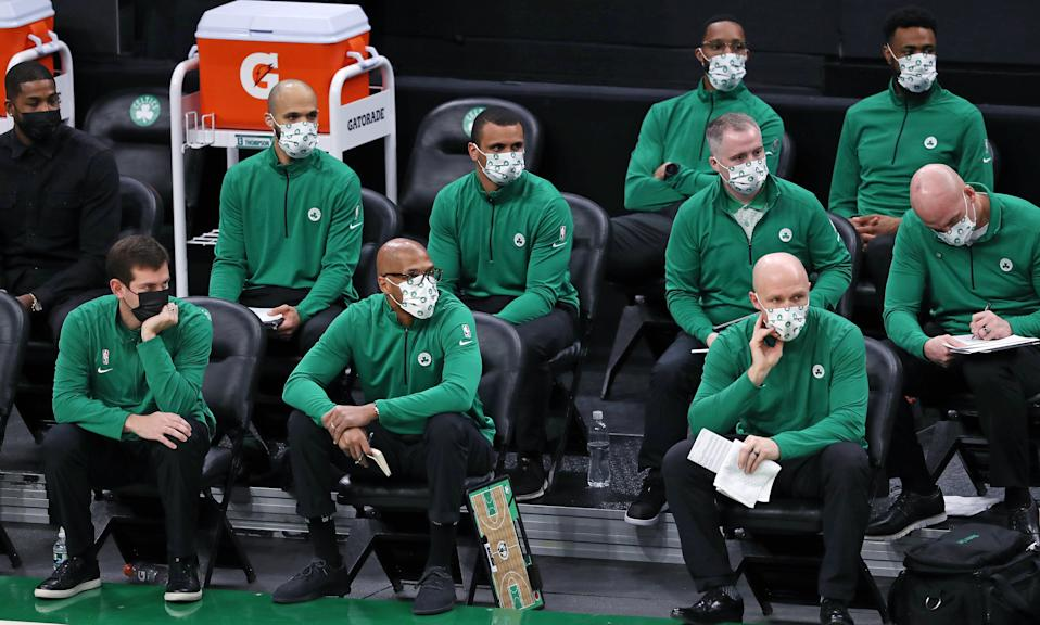 The Boston Celtics have had their last two games postponed due to the NBA's health and safety protocols. (Jim Davis/The Boston Globe via Getty Images)