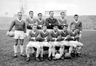 Manchester Utd FC. (l-r) Back row: Maurice Setters, Bill Foulkes, Shay Brennan, Harry Greg, Noel Cantwell and Jim Nicholson. Front Row: Albert Quixall, Nobby Stiles, Alec Dawson, Mark Pearson and Bobby Charlton. (Photo by PA Images via Getty Images)