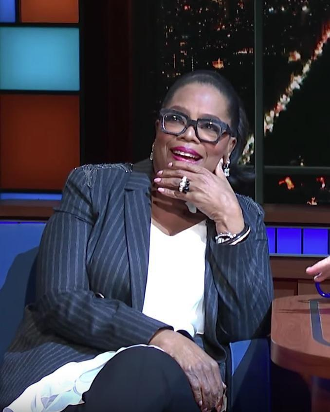 Oprah joked that running was in fact now a part of her exercise routine. Source: YouTube / The Late Show with Stephen Colbert