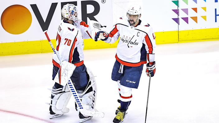 Alexander Ovechkin scored two goals to keep the Washington Capitals alive against the New York Islanders. (Photo by Elsa/Getty Images)