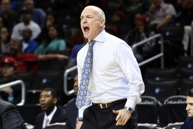 Penn State head coach Patrick Chambers directs his players from the bench in the first half of an NCAA college basketball game against Mississippi, the championship game of the Barclays Center Classic, Saturday, Nov. 30, 2013, in New York. (AP Photo/John Minchillo)