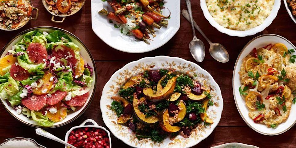 """<p>Thanksgiving is about gathering <em>together</em>, not exclusion. Why not welcome everyone to the table with a decadent Thanksgiving dinner that everyone can enjoy? Ditch the meat and opt for these classic vegetarian dishes instead. </p><p><strong>Starters: </strong></p><p><a href=""""https://www.countryliving.com/food-drinks/recipes/a2911/corn-fritters-recipe/"""" rel=""""nofollow noopener"""" target=""""_blank"""" data-ylk=""""slk:Corn Fritters"""" class=""""link rapid-noclick-resp"""">Corn Fritters</a></p><p><a href=""""https://www.countryliving.com/food-drinks/recipes/a38096/ricotta-strawberry-toast-recipe/"""" rel=""""nofollow noopener"""" target=""""_blank"""" data-ylk=""""slk:Ricotta and Strawberry Toast"""" class=""""link rapid-noclick-resp"""">Ricotta and Strawberry Toast</a></p><p><strong>Main Course: </strong></p><p><a href=""""http://www.ilovevegan.com/how-to-cook-a-tofurky-roast/"""" rel=""""nofollow noopener"""" target=""""_blank"""" data-ylk=""""slk:Tofurkey Roast"""" class=""""link rapid-noclick-resp"""">Tofurkey Roast</a></p><p><a href=""""https://www.budgetbytes.com/2010/11/mushroom-herb-gravy/"""" rel=""""nofollow noopener"""" target=""""_blank"""" data-ylk=""""slk:Mushroom Herb Gravy"""" class=""""link rapid-noclick-resp"""">Mushroom Herb Gravy</a></p><p><strong>Sides:</strong></p><p><a href=""""https://www.countryliving.com/food-drinks/recipes/a4959/asparagus-peas-tomatoes-herb-butter-recipe-clx0414/"""" rel=""""nofollow noopener"""" target=""""_blank"""" data-ylk=""""slk:Asparagus, Peas, and Tomato with Herb Butter"""" class=""""link rapid-noclick-resp"""">Asparagus, Peas, and Tomato with Herb Butter</a></p><p><a href=""""https://www.countryliving.com/food-drinks/recipes/a43069/anchor-steam-mac-n-cheese-recipe/"""" rel=""""nofollow noopener"""" target=""""_blank"""" data-ylk=""""slk:Anchor Steam Mac and Cheese"""" class=""""link rapid-noclick-resp"""">Anchor Steam Mac and Cheese</a></p><p><a href=""""https://www.countryliving.com/food-drinks/recipes/a938/pepper-jack-corn-muffins-3044/"""" rel=""""nofollow noopener"""" target=""""_blank"""" data-ylk=""""slk:Pepper Jack Corn Muffins"""" class=""""link rapid-noclick-resp"""">Pepper Jack Corn Muffins<"""