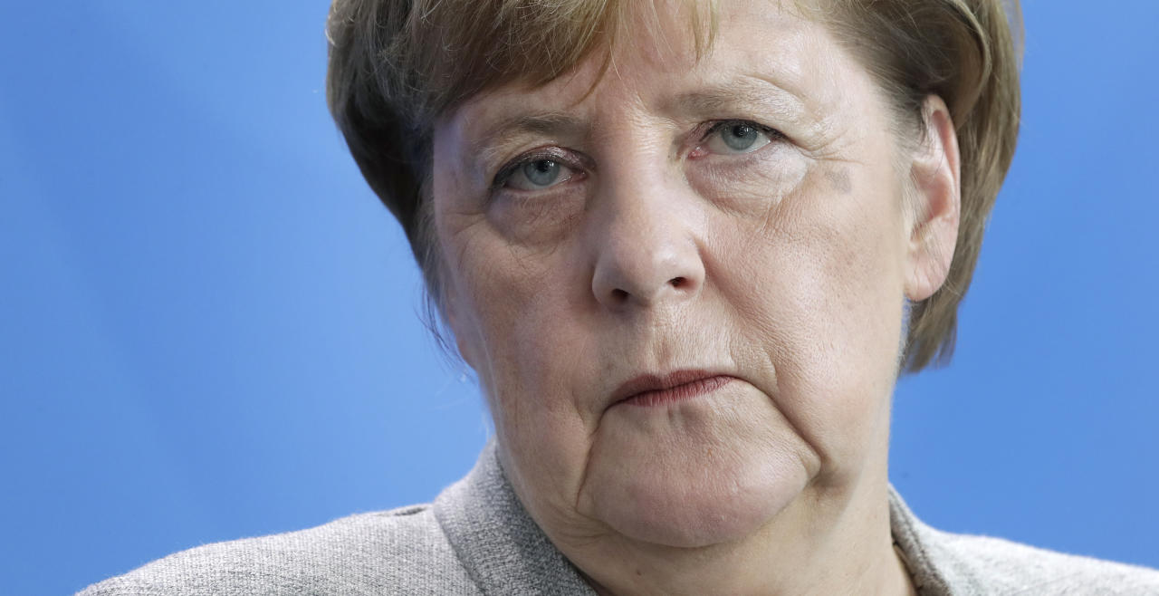 German Chancellor Angela Merkel attends a joint press conference as part of a meeting with Slovenia's Prime Minister Marjan Sarec at the chancellery in Berlin, Germany, Friday, Oct. 12, 2018. (AP Photo/Michael Sohn)