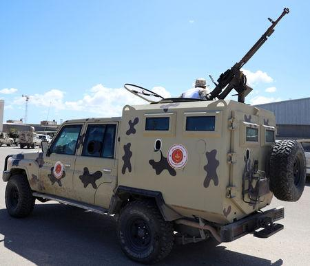 A military vehicle of Misrata forces, under the protection of Tripoli's forces, is seen in Tripoli, Libya April 8, 2019. REUTERS/Hani Amara
