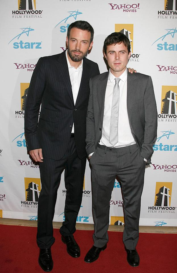 """<a href=""""http://movies.yahoo.com/movie/contributor/1800018969"""">Ben Affleck</a> and <a href=""""http://movies.yahoo.com/movie/contributor/1800018566"""">Casey Affleck</a> at the Hollywood Film Festival's Hollywood Awards in Beverly Hills - 10/22/2007"""