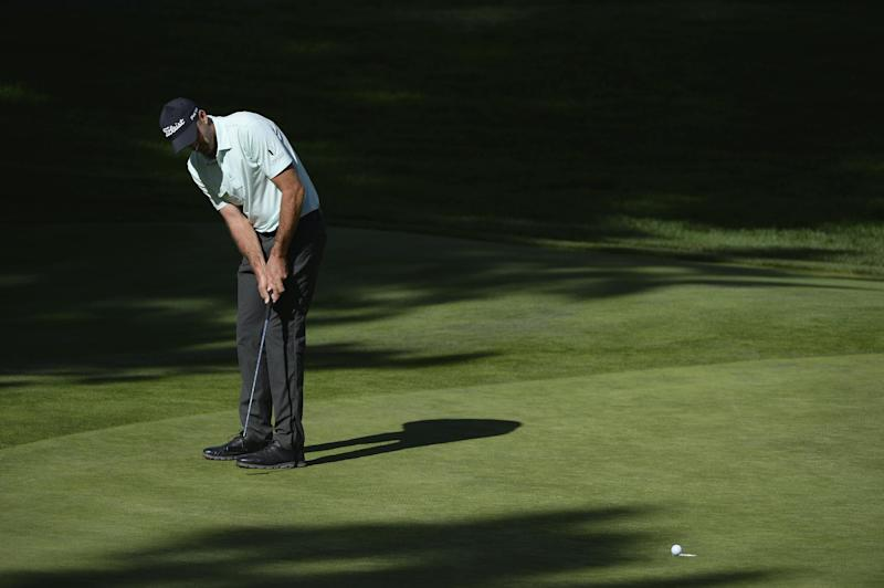 Geoff Ogilvy of Australia watches his birdie go in on the 12th hole during the third round of the Barracuda Championship at the Montreux Golf and Country Club on August 2, 2014 in Reno, Nevada