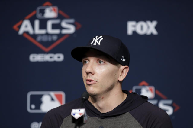 New York Yankees relief pitcher Chad Green answers questions during a news conference before Game 3 of baseball's American League Championship Series, Tuesday, Oct. 15, 2019, in New York. (AP Photo/Frank Franklin II)