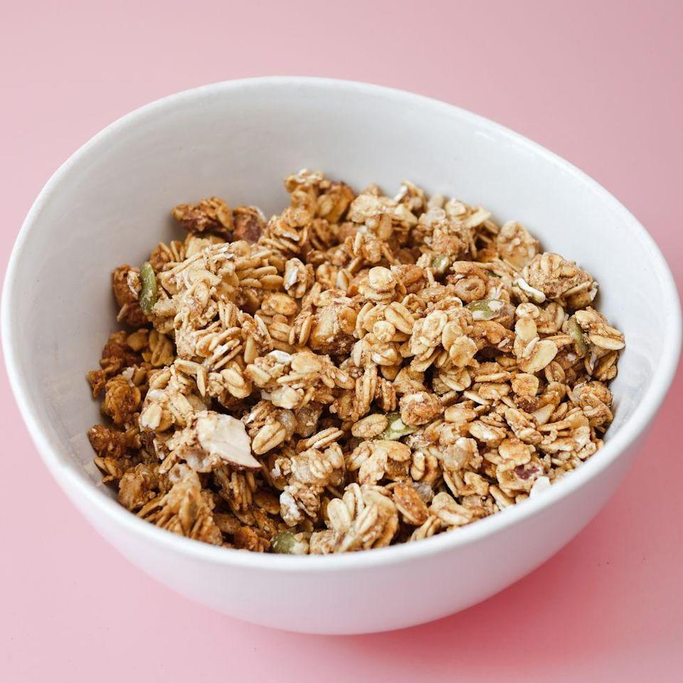 """<p>Who says granola is reserved for breakfast? Add a little sweetness to your lunch with this cashew granola, loaded with zinc, iron, and vitamin E. <br></p><p><em><a href=""""https://www.womansday.com/food-recipes/a34146054/cashew-granola-recipe/"""" rel=""""nofollow noopener"""" target=""""_blank"""" data-ylk=""""slk:Get the Cashew Granola recipe."""" class=""""link rapid-noclick-resp"""">Get the Cashew Granola recipe.</a></em></p>"""