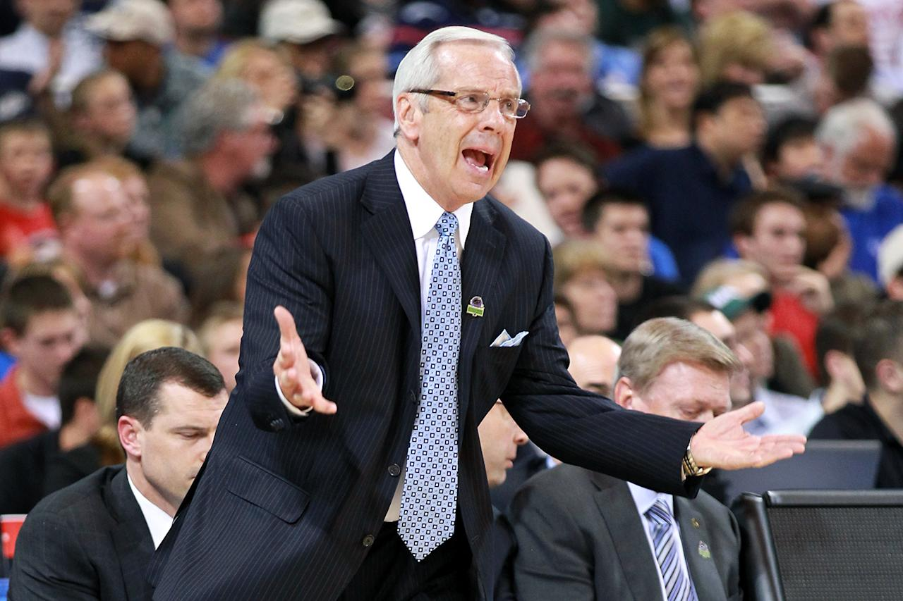 Head coach Roy Williams of the North Carolina Tar Heels reacts as he coaches in the first half against the Ohio Bobcats during the 2012 NCAA Men's Basketball Midwest Regional Semifinal at Edward Jones Dome on March 23, 2012 in St. Louis, Missouri.  (Photo by Andy Lyons/Getty Images)