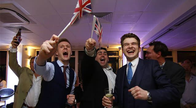 Celebrations begin after the Leave campaign triumphs in the referendum. Photo: AFP