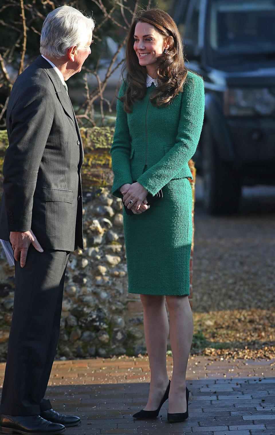 <p>The Duchess debuted a new skirt suit from high street retailer, Hobbs, while visiting a children's hospice in Norfolk. The emerald green style is made in an elegant tweed fabric and was paired with a simple white collared shirt and black heels. </p><p><i>[Photo: PA]</i></p>