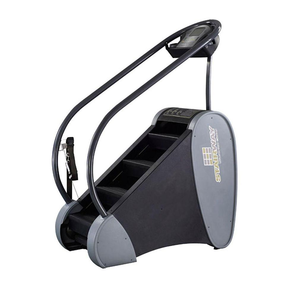 """<p><strong>Jacobs Ladder</strong></p><p>amazon.com</p><p><strong>$4495.00</strong></p><p><a href=""""http://www.amazon.com/dp/B00NEXT4KW/?tag=syn-yahoo-20&ascsubtag=%5Bartid%7C2089.g.501%5Bsrc%7Cyahoo-us"""" rel=""""nofollow noopener"""" target=""""_blank"""" data-ylk=""""slk:Shop Now"""" class=""""link rapid-noclick-resp"""">Shop Now</a></p><p>We tested the Stairway at our local gym. We found that the Jacobs Ladder was much more durable than the more affordable <a href=""""https://www.amazon.com/StairMaster-140001-SM3-StepMill/dp/B00B1W8N0A?tag=syn-yahoo-20&ascsubtag=%5Bartid%7C2089.g.501%5Bsrc%7Cyahoo-us"""" rel=""""nofollow noopener"""" target=""""_blank"""" data-ylk=""""slk:StairMaster SM3 StepMill"""" class=""""link rapid-noclick-resp"""">StairMaster SM3 StepMill</a>. </p><p>It has a rotating staircase, and the speed of the stairs is controlled by tension of a waist belt you wear while using it. The higher you go and more steps you take, the faster the stairs come. If <em>you</em> slow down, the flow of the stairs will, too. This provides a safer machine that will let its users always feel like they are in control.</p><p>You'll need at least an 8.5-foot ceiling for this monster. It features a computer and integrated display that shows the number of stairs climbed, your rate (steps per minute), elapsed time, and calories burned. It can also detect your heart rate via a wireless strap.<br></p>"""