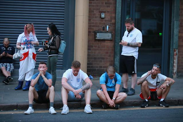 <p>Supporters in Nottingham are left to pick up the pieces of another heroic but ultimately failed England World Cup campaign. (SWNS) </p>