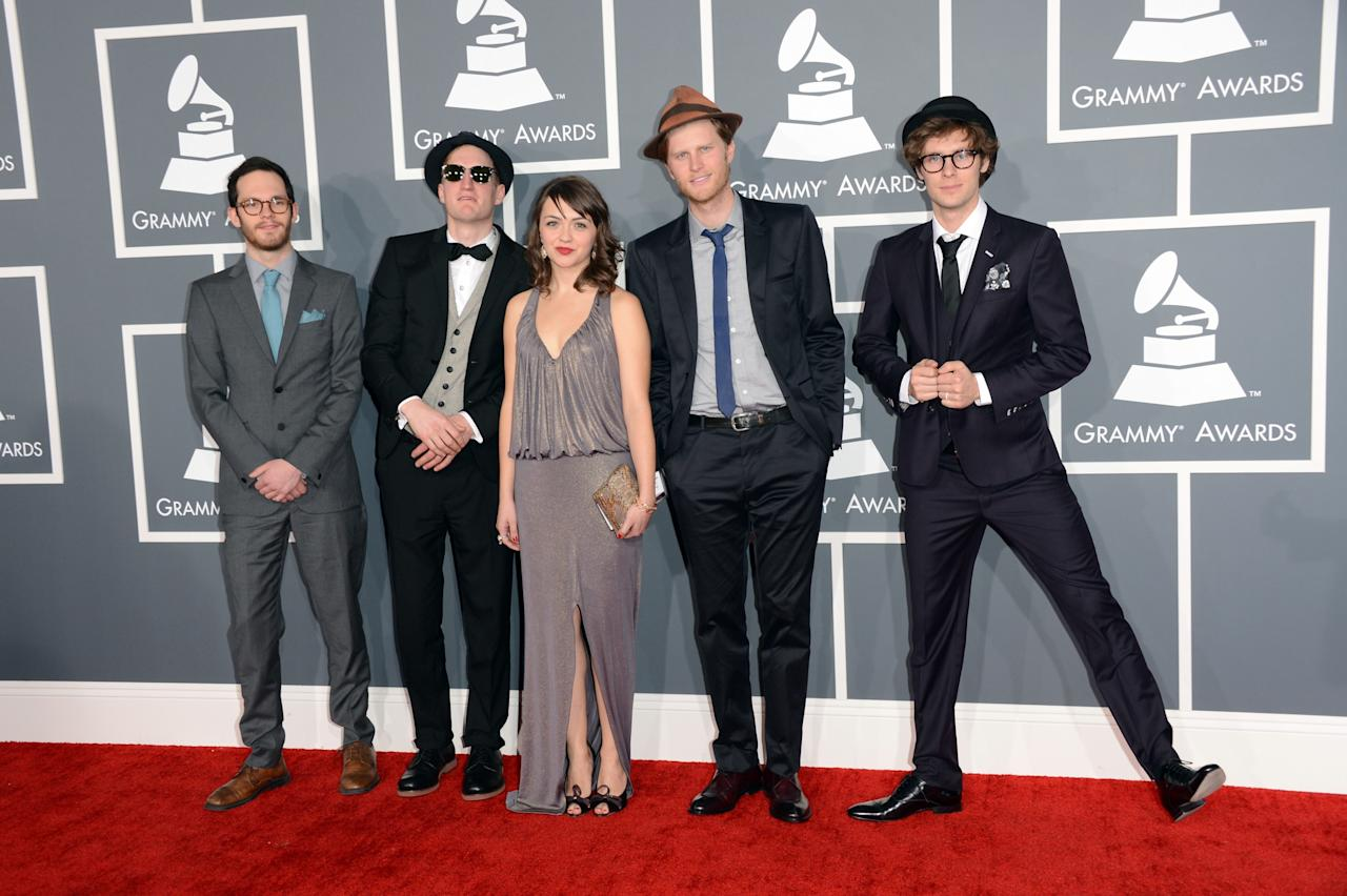 LOS ANGELES, CA - FEBRUARY 10:  (L-R) Musicians Ben Wahamaki, Jeremiah Fraites, Neyla Pekarek, Wesley Schultz and Stelth Ulvang of The Lumineers arrive at the 55th Annual GRAMMY Awards at Staples Center on February 10, 2013 in Los Angeles, California.  (Photo by Jason Merritt/Getty Images)