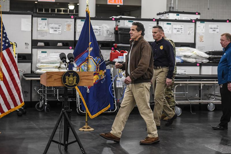 New York Gov. Andrew Cuomo prepares for a news conference at the Javits Center in New York, Tuesday, March 24, 2020, where the Army Corps of Engineers is turning the convention center into a 1,000-bed emergency hospital. (Stephanie Keith/The New York Times)