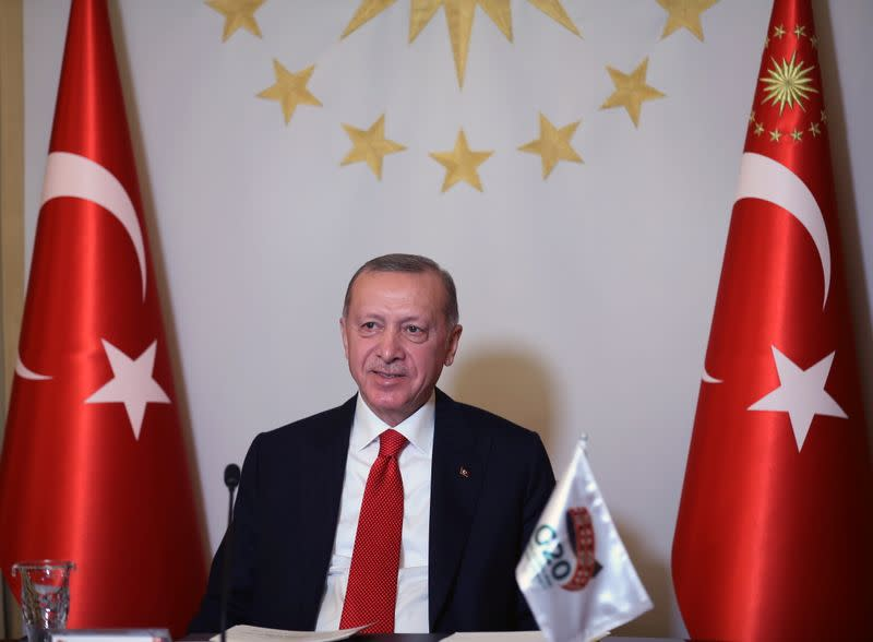 Turkish President Erdogan takes part in a video conference in Istanbul during the G20 Leaders' Summit 2020