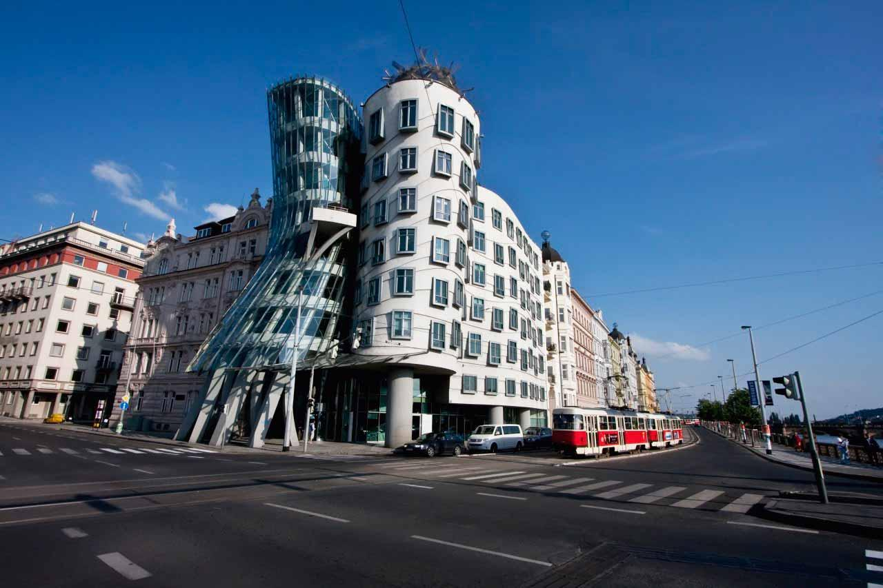 Prague's Dancing House ('Tancíci Dum' in Czech), designed by Frank Gehry and Vlado Milunic, consists of two buildings, mimicking a couple dancing together. The design is often referred to as 'Ginger & Fred', after Ginger Rodgers and Fred Astaire, because of this. While the building mainly contains offices, it also houses a French restaurant called Celeste, one of the best-known in the city.