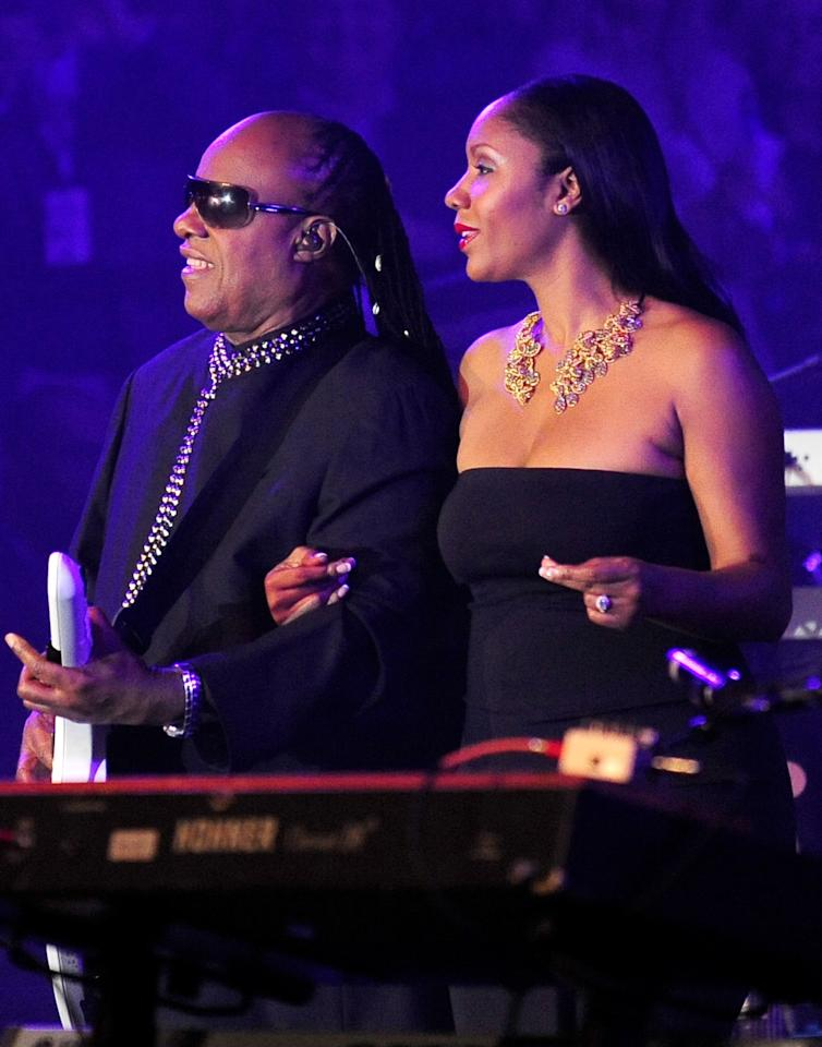 NEW ORLEANS, LA - FEBRUARY 02:  Musician Stevie Wonder and daughter Aisha Morris perform onstage at Bud Light Presents Stevie Wonder and Gary Clark Jr. at the Bud Light Hotel on February 2, 2013 in New Orleans, Louisiana.  (Photo by Stacy Revere/Getty Images for Bud Light)