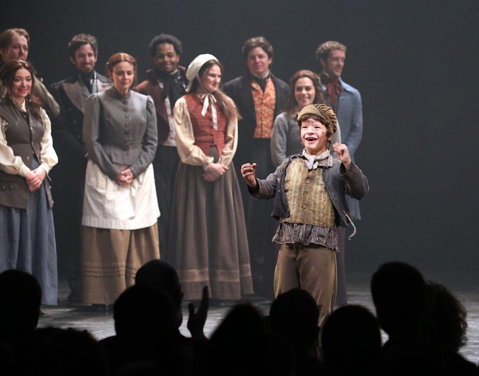 <p>Best known as Dustin on <em>Stranger Things, </em>Gaten Matarazzo was pretty well known on the Broadway circuit long before the Netflix hit. He made his debut in 2011 in <em>Priscilla, Queen of the Desert</em> and earned rave reviews for playing a young Gavroche in <em>Les Miserables </em>in 2014.</p>
