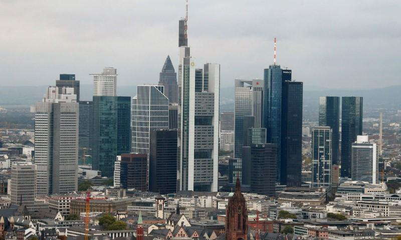 The skyline of the banking district is pictured in Frankfurt