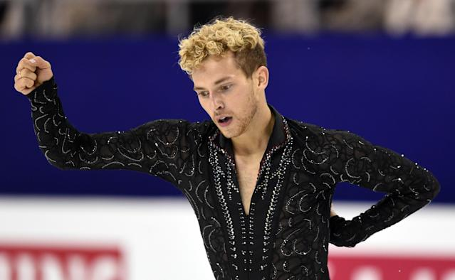 <p>Rippon celebrates after completing his routine in the Men's Free Skate program at the ISU World Figure Skating Championships 2016 in Boston.<br>(Photo by Maddie Meyer/Getty Images) </p>
