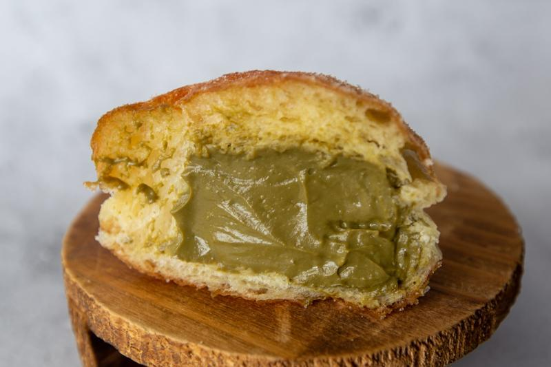 Cross-section of Hojicha Bomboloni from Puffs and Peaks