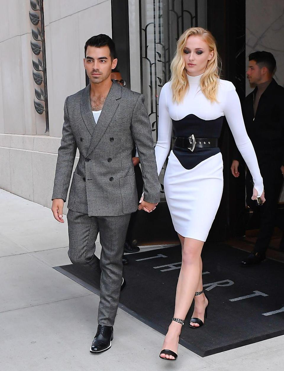 <p>Though they skipped the red carpet, Sophie Turner and Joe Jonas still managed to be one of the best dressed couples at the 2019 MTV VMAs. </p><p>Wearing a monochrome, high-neck Louis Vuitton midi dress, Turner supported a suited and booted Joe Jonas, who won the award for best pop video with the Jonas Brothers. Go Joe!</p>