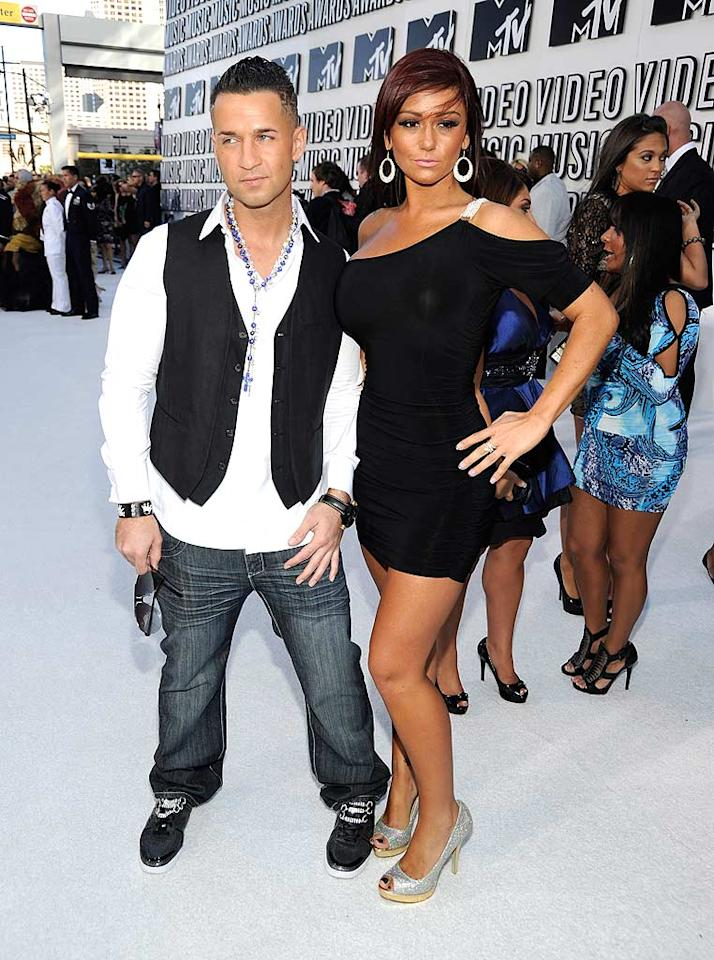 """Mike """"The Situation"""" Sorrentino appeared quite petite next to his fellow """"Jersey"""" girl, Jenni """"Jwoww"""" Farley, who showed off her assets in a skimpy LBD and bedazzled peep-toes. Kevin Mazur/<a href=""""http://www.wireimage.com"""" target=""""new"""">WireImage.com</a> - September 12, 2010"""