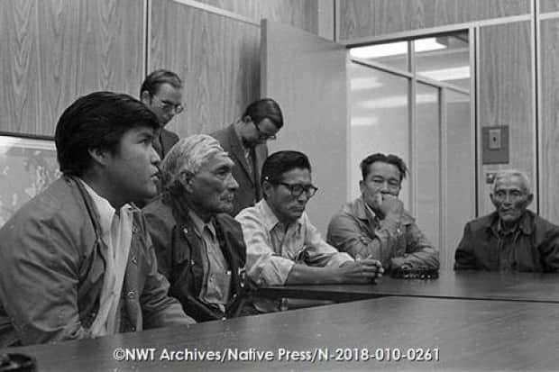 Charlie Charlo, Alec Charlo, Alphonse Eronchie, Ernie Camsell, and Chief Jimmy Bruneau in Yellowknife during signing agreement for Chief Jimmy Bruneau School.