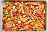 "<p>Don't love doing dishes? Welcome to the rest of the world. From one pan chicken fajitas to easy baked salmon, these sheet pan suppers are perfect for weeknight dinners, meals prepping and make for the easiest clean up ever. <a href=""https://www.delish.com/cooking/menus/g1467/one-skillet-dinners/"" rel=""nofollow noopener"" target=""_blank"" data-ylk=""slk:Get more one pan dinner ideas here."" class=""link rapid-noclick-resp"">Get more one pan dinner ideas here.</a></p>"
