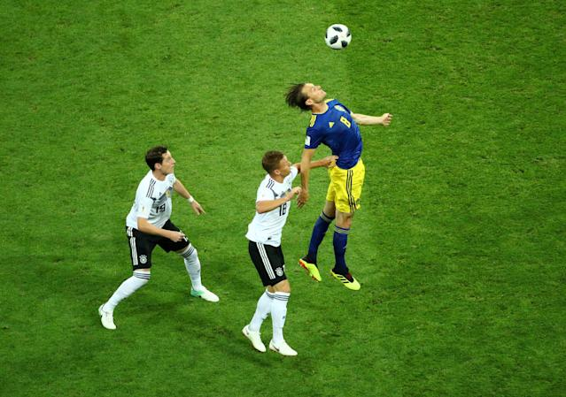 Soccer Football - World Cup - Group F - Germany vs Sweden - Fisht Stadium, Sochi, Russia - June 23, 2018 Sweden's Albin Ekdal in action with Germany's Sebastian Rudy and Joshua Kimmich REUTERS/Hannah McKay TPX IMAGES OF THE DAY