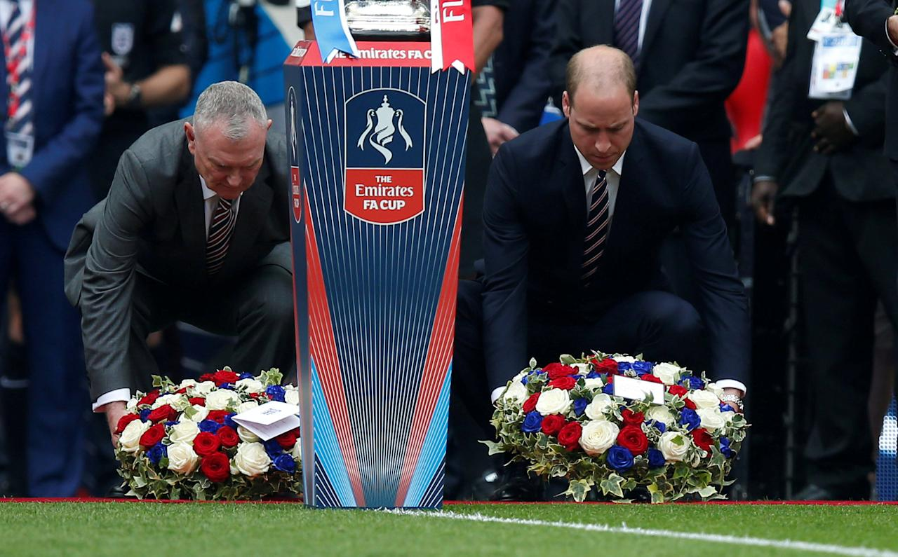 "Britain Soccer Football - Arsenal v Chelsea - FA Cup Final - Wembley Stadium - 27/5/17 Prince William lays a wreath in memory of the victims of the Manchester attack before the match Reuters / Andrew Yates EDITORIAL USE ONLY. No use with unauthorized audio, video, data, fixture lists, club/league logos or ""live"" services. Online in-match use limited to 45 images, no video emulation. No use in betting, games or single club/league/player publications.  Please contact your account representative for further details.     TPX IMAGES OF THE DAY"
