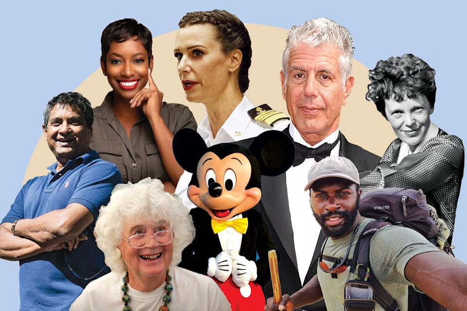 From Left to Right: Floyd Cardoz, Kellee Edwards, Jan Morris (below), Mickey Mouse, Kate McCue (above), Anthony Bourdain, Mario Rigby, Amelia Earhart